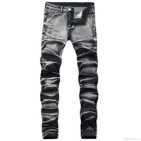 2019 Mens Distressed Ripped Biker Jeans Slim Fit Motorcycle ...