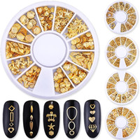 Mixed Styles 3D Gold Metal Rivets Nail Art Decoration Round ...