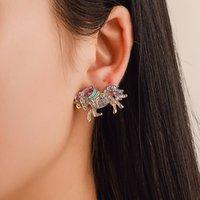 سماعات أذن (زركون) كاملة اللون أقراط (زركون بوني) أزياء مجوهرات بسيطة ... ... نساء لطيفات ... ... أقراط الإكسسوارات الشعبية هدية