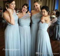 2019 billig Neue Ankunft Eine Schulter Brautjungfer Kleid A-Line Lace Country Garten Hochzeit Gast Maid of Honor Kleid Plus Size Custom Made