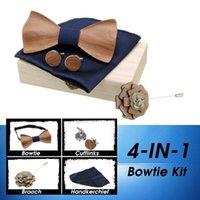 Lazos de arco de la moda de la corbata de madera para los hombres de madera Bowtie Gemelos Set Retro Cuello Ajustable Correa Vintage Gravata Corbatas