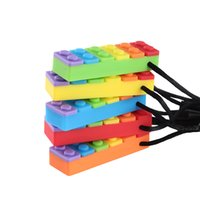 Sensory Chew Necklace Rainbow Brick Necklace Silicone Blocks...