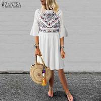 Günlük Elbiseler S 5XL ZANZEA 2021 Yaz Flare Kol Vestidos Kadınlar Boho Çiçek Baskılı Gevşek Plaj Parti Kısa Sundress Elbise Femme