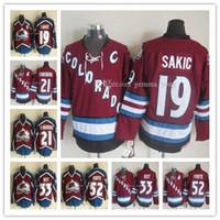 Uomo Vintage Maroon Colorado Avalanche Ice Hockey 52 Adamo Foote 19 Joe Sakic 21 Peter Forsberg 9 Paul Kariya Tutte le maglie cucite all'ingrosso