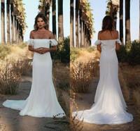 Sexy с плеча Bohemian Русалка Свадебные платья Backless Свадебные платья Поезд стреловидности Свадебные Dressess сшитое