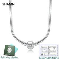 Avere certificato! 100% Real 925 Solid Silver Silver 3mm Snake Charms Charms Collana Collana originale Catena di fascino Collana per le donne 45 / 50/55 / 60 cm