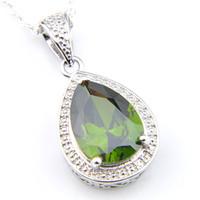 925 Vintage Goutte Moonstone grenat citrine Gems engagement Pendentifs Colliers Weddings Bijoux pour les femmes avec la chaîne 12pcs LuckyShine