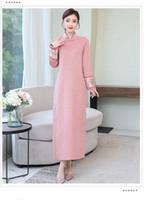 New hohe Art und Weise handgemachte Doppelseitige Kaschmir Woll Cheongsam Chinese klassischen Frauen Qipao elegante lange Hülsen-Neuheit langes Kleid