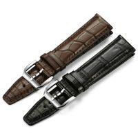 Haute qualité Bracelet en cuir Bracelet avec argent boucle ardillon du bracelet montre IW 20 mm 21 mm 22 mm Noir Marron