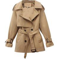Nova Primavera Outono Trench Coat Mulheres Casual Dupla Breasted Windbreaker Feminino Slim Plus Size Trench Revestimento Outwear Top R92