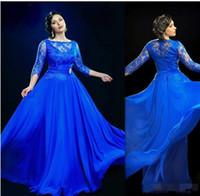 Sheer azul real vestidos de noche con 3 4 manga larga partido largo formal Prom Vestidos más el vestido más del tamaño Vestidos para ocasiones especiales
