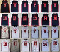 1992 Team One Mens # 7 Bird # 9 Michael Baloncesto Jerseys Ewing Larry Patrick Scottie Pippen Mullin Robinson Drexler Laettner Stockton Malone Johnson Barkley Shirts