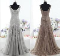 2018 de haute qualité Brown robe de soirée taille basse col en V Cour sirène train perlage robes de bal Tulle Paillettes Mère de la robe de mariée