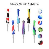 Silicone Nectar Collector Com Titanium Tip / Quartz Dica Food Grade Silicone Dab Nectar Coletor Acessórios Portátil de fumar para Wax Dab Rig