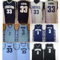 NCAA Mens Georgetown Hoyas Iverson College Jersey pas cher 3 Allen Iverson 33 Patrick Ewing University Basketball Shirt Bon Jersey cousu