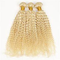 Irina cheveux produits extensions de cheveux bouclés brésiliens # 613 blond cheveux russes 3pcs lot 8-32 pouces afro kinky cheveux bouclés tisse