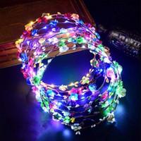 Couronne de fleurs bandeau couronne lumineux 10 LED coiffe de fleurs coiffe pour filles nuit de fête LX5019