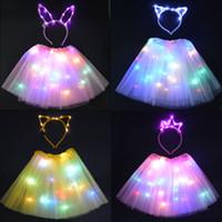 Partido de luz LED de alambre Tutu Glow conejito de bandas para la cabeza del gato del oído de la corona de la etapa del partido de baile de cumpleaños de la falda del resplandor de la Navidad del partido de neón 2 set / 4 pcs