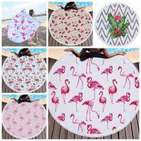 Flamingo مطبوعة نسيج جولة شرابة منشفة شاطئ المرأة شال سماط سجاد نزهة اليوغا حصيرة 5 تصاميم 1 قطع LQPYW426