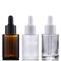 Bottiglie di profumo di olio essenziale di vetro 30ml bottiglie di pipetta del reagente liquido Bottiglia da incasso della pipetta flat Bottiglia cilindrica chiara / glassata / ambra