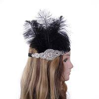 Diadema elástica de plumas negras Diadema de cristal plateado Diadema de perlas de marfil Fiesta de Navidad Gatsby Flapper Bandas para el cabello Accesorios para el cabello