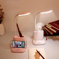 어린 아이 독서 연구 침대 옆 침실 거실을위한 USB 충전식 LED 데스크 램프 터치 디밍 조절 테이블 램프