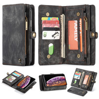 Cuero de la cubierta del tirón para el iPhone XS Max XR X Samsung S9 S10 Plus S10e Nota 9 funda protectora Caja de tarjeta de bolsillo de la carpeta