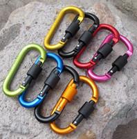 Mosquetón de aleación de aluminio de 8 cm Anillo en D Clip de llavero Multicolor Escalada de camping Llavero Gancho de seguridad Kit de viaje al aire libre Mosquetón Quickdraws
