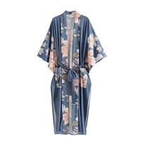 Maxi Robe Kimono Blouses Femmes Summer Chic Floral Vintage Vintage Bohemian Longue Jacket Cardigan New Beach Boho Shirt Loose Vêtements Couverture