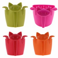 Kahve Çay Infuser Çaydanlık Çay Süzgeç Karikatür Hayvan Kitten Plastik Teabags Filtre Drinkware Kahve Çay Aksesuarları