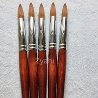 Big Size Round Sharp 1pcs 10 # 12 # 14 # 16 # 18 # 20 # 22 # 24 Kolinsky Sable Brush Acrilico Nail Art Brush Legno rosso cristallo Acrilico Salon