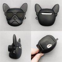 Cool Dog Art-Fall für AirPods 1/2/3 Bluetooth Headset Abdeckung für AirPods Mode Cartoon Sonnenbrille Bulldog Pattern-Speicher-Box 2 Farben