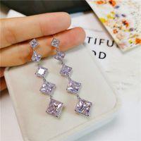 Simples Moda longa borla brincos de jóias de luxo 925 Sterling Silver Princesa Cut branco Topaz CZ Diamante Mulheres Wedding Gota Dangle Earring