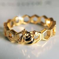 api oro giallo 18 carati Anelli cofanetto originale per 925 Pandora Sterling Silver nido d'ape per gli accessori delle ragazze delle donne di moda