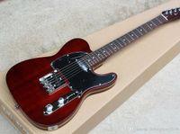 الأحمر الداكن الغيتار الكهربائي مع الأسود Pickguard ل، روزوود مقياس، ألدر الجسم، والكروم الأجهزة، وتقديم خدمات حسب الطلب