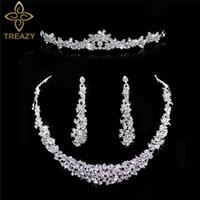 Wholesale mode argent couleur cristal mariée 3pcs set collier floral boucles d'oreilles bandeau de bijoux de mariage diadème bijoux de mariée pour femmes