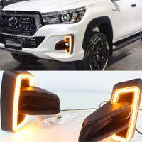 1 Paar gelber Signalstil DRL für Toyota Hilux Revo ROCCO 2018 2019 Relais Wasserdichte Auto LED Tagtime Fahren laufend