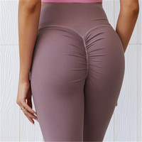 Women yoga pants Solid Color Sports Gym Wear Leggings High Waist Elastic Fitness Lady Overall Tights Workout R1263