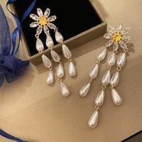 Crystal Flower Pearl Drop Earrings for Women 2020 Nieuwe Design Long Tassel Dangler Kroonluchter 925 Zilveren Naald Bruiloft Merk Sieraden met CZ