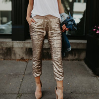 Frauen GoldPaillette gerade Hosen lose Hosen Dame-Sommer-Tassel Elastic Lace-up beiläufige Glitter Hell leuchtende Harem Pants Street