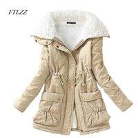 여성 다운 파카 FTLZZ 겨울 여성 슬림 코튼 코트 두께 오버 코트 중간 긴 플러스 사이즈 캐주얼 Wadded Snow Outwear