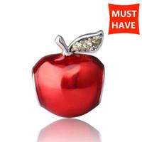 Nieuwe Collectie Zilver 925 Kralen Rode Emaille Apple Charms Kralen Fit Pandora Pandora Armbanden voor Sieraden Maken Kerstcadeaus