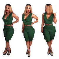 Kadın Iki Parçalı Setleri Kıyafetler Yaz Moda Seksi Katı V Yaka Kolsuz Fırfır Yelek Üst Pantolon Rahat Eşofman Artı Boyutu Giyim S-3XL
