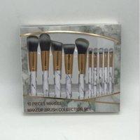 Nuevos 10pcs / set de pinceles de maquillaje de mármol Sets se ruboriza polvo Eyeliner de la ceja cepillo del maquillaje de Fundación conforman brushes.DHL