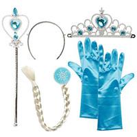 Baby Girls Princesa Acessórios Cosplay 4 Pc Set Crown + Rainha Varinha Mágica + Luvas + Trança Crianças Performance De Performance Halloween Jóias C2226