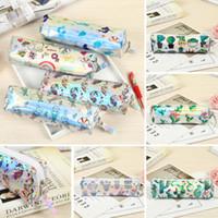 1Pcs estudante dos desenhos animados Kawaii Bolsa Bolsas Laser Pencil Pen Caso Cosmetic Makeup Bag Zipper bolsa de viagem organizador Caso Container