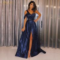 샤이니 네이비 블루 장식 조각 댄스 파티 드레스 2020 반짝이 스파클 이브닝 드레스 한 어깨 쪽 슬리브 롱 파티 드레스 정장 드레스 Vestido