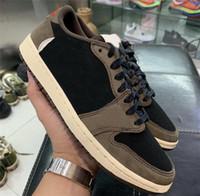 2019 Authentic Travis Scott X 1 Basse OG SP TS CQ4277-001 1S Suisse Basketball noir Basketball Noir Sneakers Sports avec boîte originale