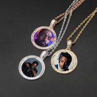CUSTOM Foto collane ciondolo rotondi per le donne degli uomini hip hop design di lusso bling immagine di diamanti pendenti amico di famiglia regalo gioielli amore