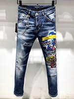 DSQ PHANTOM TORTUGA Classic Hombre de la manera de los pantalones vaqueros para hombre de Hip Hop Roca Moto Diseño casual vaqueros rotos en dificultades flacas Denim Jeans motorista DSQ 6920